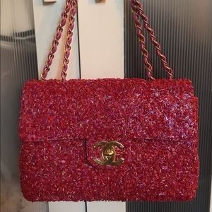 Authentic Chanel Jumbo Maxi Single Flap Pink Bag